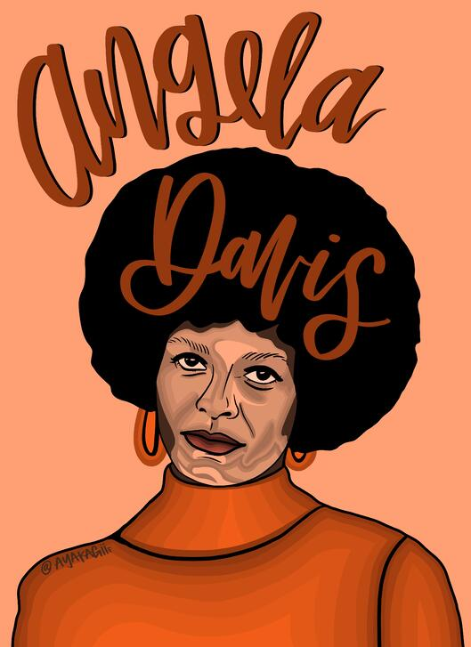 Ayako Kiener's illustration of Angela Davis for Black History Month.