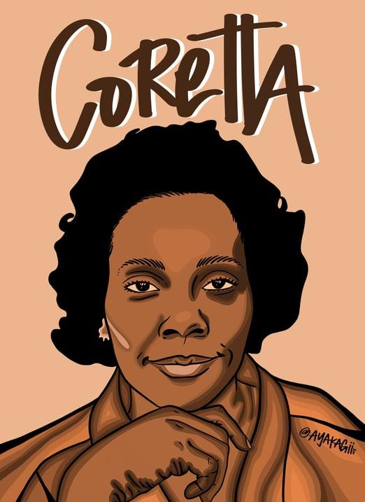 Ayako Kiener's illustration of Coretta Scott King for Black History Month.