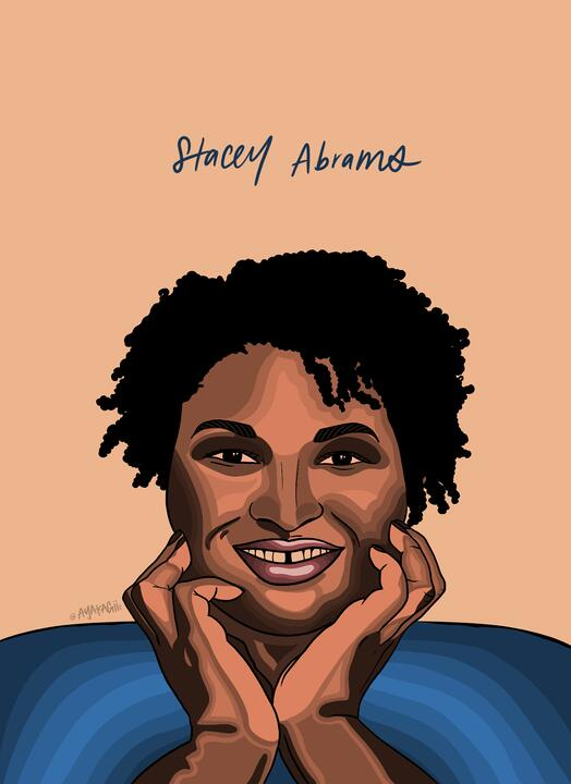 Ayako Kiener's illustration of Stacey Abrams for Black History Month.