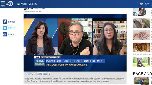 A screenshot of Anne, the PSA director, and news anchor discussing the project on the local news stations ABC7.