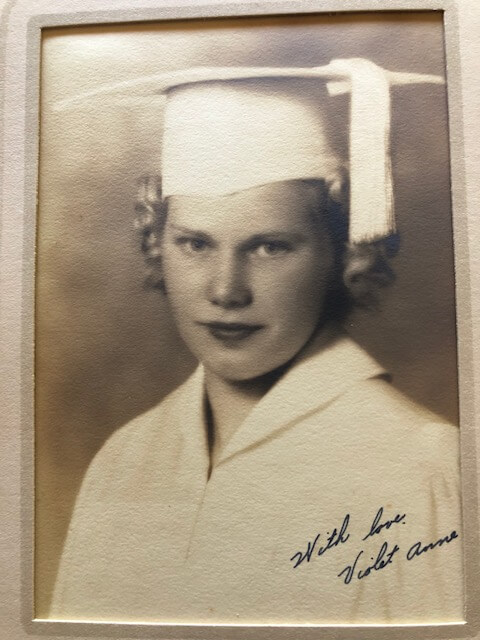 Violet Golden in her cap and gown for Notre Dame Academy's class of 1939 graduation.