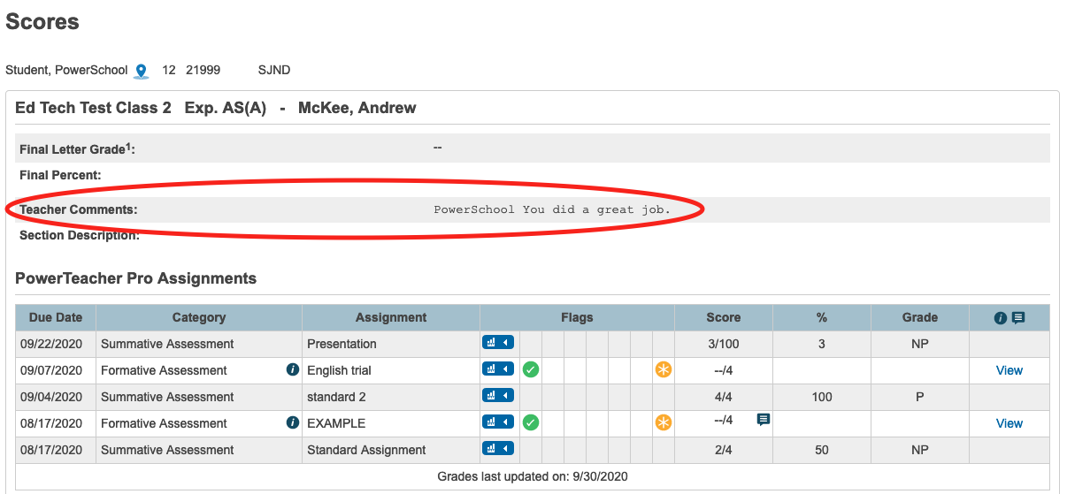 How to check quarter grades in Powerschool